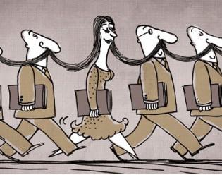 1. La vignettista Doaa el Adl fra suoi quattro colleghi maschi