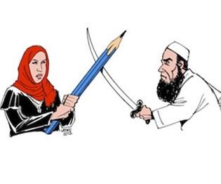 2. Il vignettista brasiliano Carlos Latuff ritrae Doaa el Adl che combatte contro uno sheikh salafita dopo essere stata accusata d blasfemia - 27 dicembre 2012 -