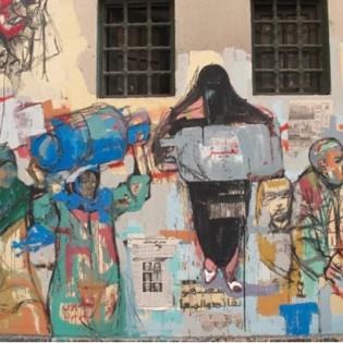 30. Particolare del graffito Piramide della crisi - Hanaa el Degham -