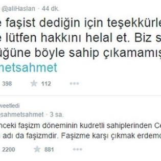 """4. In alto il Tweet di Ali Aslan """"Grazie per aver chiamato fascista un fascista. E per favore perdonaci. Non non abbiamo difeso la tua libertà come tu hai difeso la nostra"""", in risposta al Tweet di Ahmet Şik in basso: """"I gulenisti che erano i perpetuatori del fascismo qualche anno fa, lo stanno oggi subendo. Essere contro il fascismo è una virtù""""."""